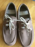 CROCS Khaki Beige Fabric Lace-up Beach Boat Shoe Size US 10 UK 9 Small Fitting
