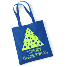 Merry Christmas Shoulder Shopping Bag Gift, Blue with lemon flock vinyl print