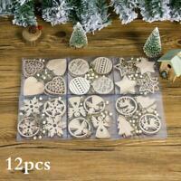 12Pcs  Wooden Christmas Snowflake Angel Pendants Ornaments Xmas Tree Decoration
