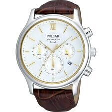 Pulsar Gents White Dial Brown Leather Strap Chronograph PT3103