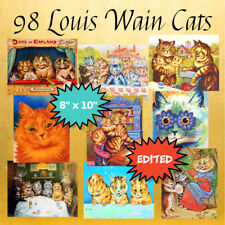 """98 LOUIS WAIN CATS Art Prints on A DVD, 8""""x10"""", Professionally Edited"""