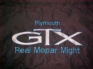 Medium Plymouth GTX Jacket, Real Mopar Might, Black Nylon Blue Letters, Vintage