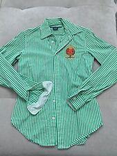 Man's Boys Ralph Lauren Dress Shirt Size S Fitted Green Large Logo