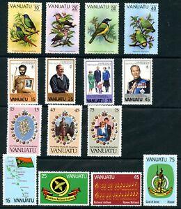 Weeda Vanuatu 300-314 MNH 1981 issues in sets CV $9