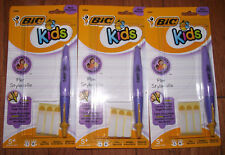 BRAND NEW (3) BiC Kids Pen Black Ink Yellow Guiding Line For Proper Finger Grip