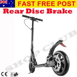 New BEST Adult Folding Suspension Kick Scooter + Hand Disc Brake Large Wheels