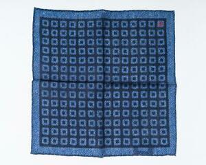 "Isaia NWT Blue Geometric Pattern Pocket Square Wool Silk Blend 13"" 33 cm"