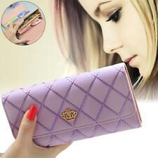 Women Lady Leather Clutch Wallet Long PU Card Holder Purse Handbag Bag Purple #G