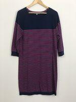 UNIQLO Womens Navy Blue Pink Stripe Stretch Cotton Cashmere Knit Dress Size L