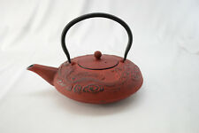 Cast Iron Teapot, Enamelized Interior, Stainless Steel Strainer, Red Dragons