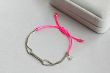 Pink Color White Gold  Plated  Pave Wishing  Good Luck Rhinestone Bracelet