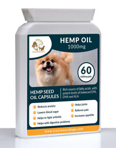 60 Pure Hemp Seed Oil Supplement For Dogs Hempseed - Omega 3 & 6 Joint & Calming