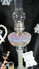 French Oil Lamp Antique Kerosene Opalescent Glass Marble Gone With The Wind