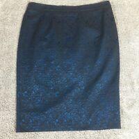 LINEA Size 16 Skirt Blue & Black Paisley Pattern 5% Elastane Back Split Office