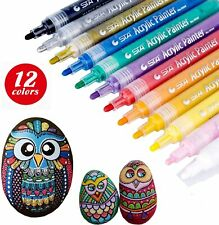 12 STA Acrylic Paint Pens Marker For Paper Stone Glass Wood Metal Fabric Rock