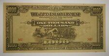 Malaya Japanese Occupation 1000 Dollar (a)  AU-UNC