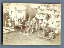 India, Benares, Les Ghats de Bénarès  Vintage citrate print. Inde.  Tirage c