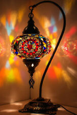 Turkish Moroccan Mosaic Colorful Swan Table Bedside Mood Lamp Lampshade, Multi