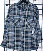 MEN Flannel Shirts  Heavyweight Brawny Buffalo Plaid  Shirts COLOR BLUE /MULTI