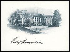 Very Rare & Pristine, President Benjamin Harrison Signed, White House Engraving
