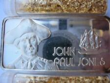 1-OZ .999 BAR SILVER HAMILTON MINT JOHN PAUL JONES  OUR GREATEST AMERICANS +GOLD