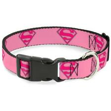Buckle-Down Superman Shield Pink Pet Collar - Medium