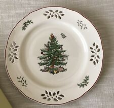 """9"""" Spode Christmas Tree Pierced Accent Plate Red Trim New in Box w/ Tag"""