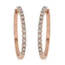 10K Rose Gold White Diamond Hoop Hoops Earrings Gift Ct 0.5 H Color I3 Clarity