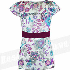 Fitted Waist Length Crew Neck Floral Tops & Shirts for Women