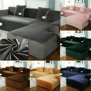 Stretch Velvet Plush Sofa Cover Corner Sectional Couch Slipcover L Shape