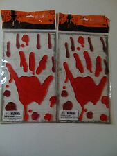 2 Packs Reusable Halloween Gel Clings - Bloody Hand Print - Fall - Party Decor