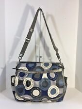 Coach Bag Snap Head Messenger Diaper Shoulder Purse Blue Sateen F18377 B2G