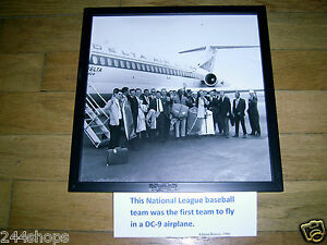 1966 Atlanta Braves 12 x 12 Framed Team Picture With Delta DC 9 In Background