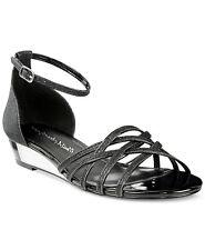 Easy Street Tarrah Strappy Low Wedge Sandals, Black Glitter, Size 11 WW