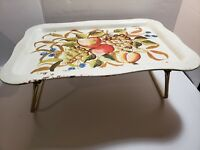 Vintage Tole Metal Bed Lap TV Tray Fold Down Legs Painted Fruits Toleware