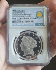 William Barber 1oz .999 Silver Pattern Half Union Private Issue NGC Gem Proof