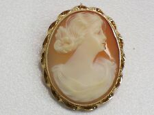 Vintage Hand Carved Shell Cameo Set In 10KT Fine Yellow Gold Frame