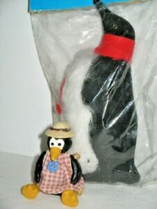 2 Penguin Soft Faux Fur 17cm High Russ Penguin Movable Limbs Hat Gingham Dress