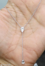 DEAL! 0.25CTW GENUINE CLUSTER BAGUETTES DIAMOND LADIES NECKLACE 14K WHITE GOLD.