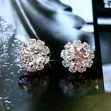 Crystal Stud Earrings Diamante Bridal Rhinestone Silver Wedding Prom Flower Glam