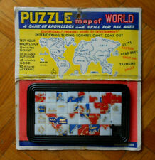 VINTAGE PLASTIC PUZZLE MAP OF WORLD Made in Hong Kong