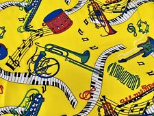 Musical Instruments Notes Printed Woven Dress Fabric, Per Metre