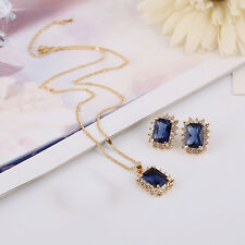 Wedding Gold Plated Jewelry Sets Blue Rhinestone Pendant Necklace Earring Set