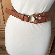 Ralph Lauren Tri-Strap Equestrian Brown Leather Belt Size L