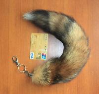 Real Red Fox Tail Fur Handbag Accessory Charm Key Chain Ring Hook Cosplay Toy