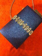Blue Rhinestone Clutch Metallic, Gold Chain New Indian Pakistani Bag Bride Purse
