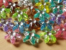 100 Mixed ACRYLIC FLOWER BEADS 10mm CHILDRENS JEWELLERY MAKING CRAFTS