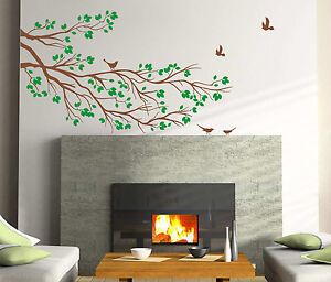 Large Tree Branch Wall Sticker with Birds Art Vinyl Wall Decal DIY Home Decor