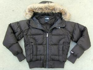 THE NORTH FACE Fur Hooded 550 DOWN JACKET Women's Sz Small Dark Brown