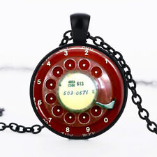 Phone Rotary Dial Black Dome Glass Cabochon Necklace chain Pendant #385